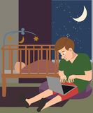 Man with laptop babysitting at night cartoon Stock Image