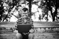 Man Laptop Browsing Searching Social Networking Technology Conce Royalty Free Stock Photos