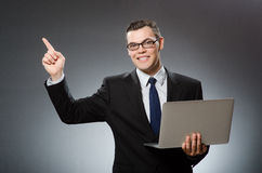 The man with laptop in business concept Stock Photos