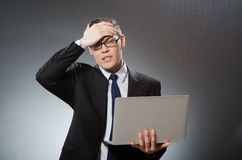 The man with laptop in business concept Stock Images