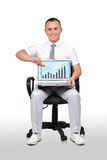 Man and laptop with chart Royalty Free Stock Photos