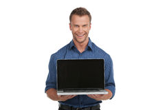 Man with laptop. Royalty Free Stock Photo