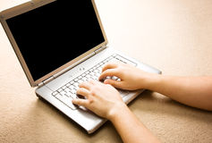 Man with laptop close-up Stock Photography