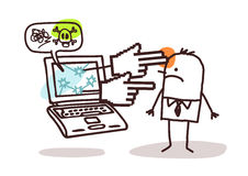 Man with laptop and cyberbullying royalty free illustration
