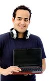 Man with laptop and headphones Stock Image
