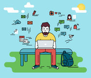 Man with laptop. Hipster man wearing beard is sitting with laptop outdoors. Flat line illustration of guy writing a comment in social networks and social media Royalty Free Stock Image