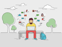 Man with laptop. Hipster young man is sitting with laptop outdoors. Flat outlined illustration of guy writing a comment in social networks on laptop with social Stock Photography