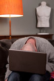 Man laptop home work stock photo