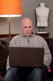 Man laptop home work Royalty Free Stock Image