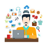 Man with laptop internet object: social media lifestyle collage Stock Image