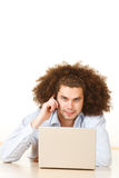 Man with laptop and mobile Royalty Free Stock Photos