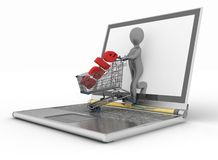 Man and laptop online shopping. 3d man and laptop online shopping on white background Stock Photos