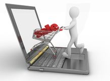 Man and laptop online shopping. 3d man and laptop online shopping on white background Royalty Free Stock Images
