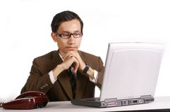 Man with laptop operator Royalty Free Stock Photo