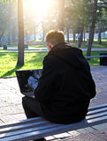 Man with Laptop outdoor Royalty Free Stock Image