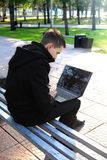 Man with Laptop outdoor Stock Photography