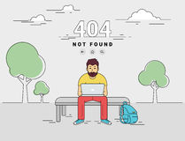 Man with laptop 404 page not found error Royalty Free Stock Photo