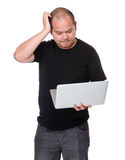 Man with laptop and scratch his head Stock Photos