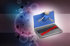 Man through the laptop with solution concept Royalty Free Stock Photography