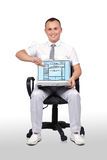 Man and laptop with template web page Royalty Free Stock Photography