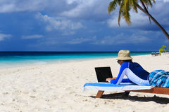 Man with laptop on tropical vacation Royalty Free Stock Image