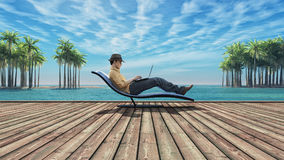 Man with laptop. Man using laptop on a wooden ground at the beach of island, among the palms. This is a 3d render illustration Stock Photography