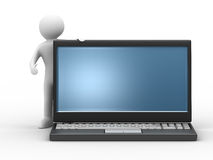Man and laptop on white background Royalty Free Stock Photography