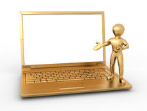 Man with laptop on white isolated background Stock Photography