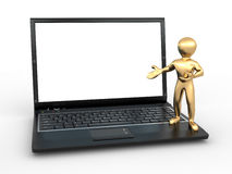 Man with laptop on white isolated background Royalty Free Stock Images