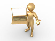 Man with laptop on white isolated background Royalty Free Stock Photos