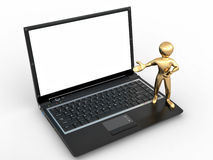 Man with laptop on white isolated background Stock Image