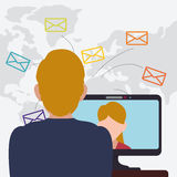 Man laptop woman talking email world. Vector illustration Stock Photo