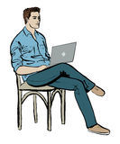 Man with laptop. Young man sitting on chair and using laptop. Hand-drawn sketch Royalty Free Stock Photo