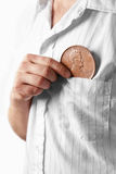 Man with large penny Stock Photos