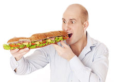 Man with large sandwich. Stock Photography