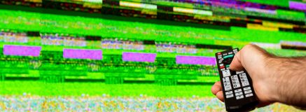 Man hand bad signal bad remote displasy royalty free stock image