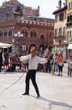 The man with a lash, demonstration performances, Verona, Italy September 22th, 2013 Stock Photo
