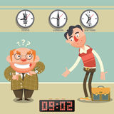 Man late for appointment cartoon vector Stock Images