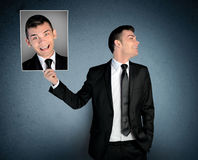 Man laugh at crazy face Stock Image