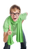 Man laugh and show gesture. Young crazy guy in a green shirt and  glasses,indicates direction, forwarg,isolated over white Royalty Free Stock Images