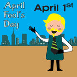 Man laughing on April Fools Day. Colorful illustration with man laughing on April Fools day Stock Photos