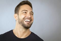 Man laughing face looking away Royalty Free Stock Image