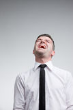 Man laughing out loud with a necktie Stock Photos