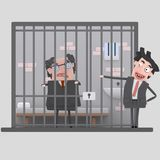 Man laughing and pointing to arrested man.3D Stock Image