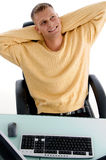 Man laughing while resting Stock Photography