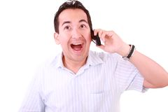 Man laughs and talks by mobile phone. Stock Image