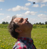 Man launch drone. Royalty Free Stock Photo