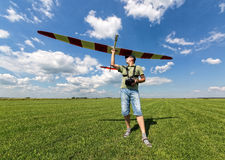 Man launches into the sky RC glider Stock Photography