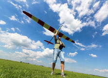 Man launches into the sky RC glider Royalty Free Stock Photos