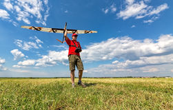 Man Launches into the Sky RC Glider Stock Image